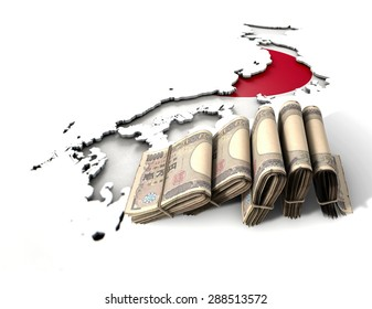 The shape of the country of Japan in the colors of its national flag with a wad of folded yen notes