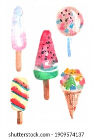 Shaped different flavor ice-cream clip art collection watercolor illustration