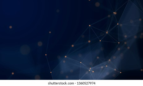 Shapes, dots and lines are connectied with shine on blurred background. Lines and docs create white transparent shapes.