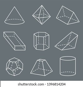 Shapes with lines collection poster and geometric forms cone octahedron items set raster illustration isolated on grey background