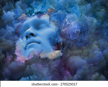 Shards of Dream series. Abstract composition of human face and graphic elements suitable as element in projects related to dreams, mind, spirituality, imagination and inner world