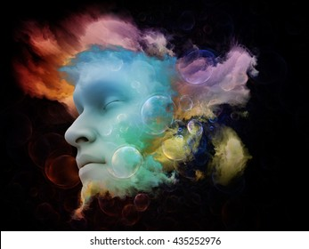 Shards of Dream series. Arrangement of human face and colorful graphic elements on the subject of dreams, mind, spirituality, imagination and inner world