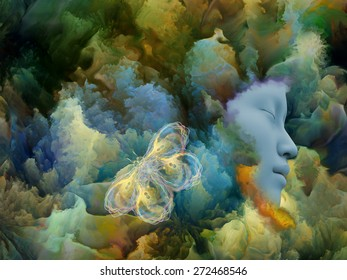 Shards of Dream series. Backdrop composed of human face and colorful graphic elements and suitable for use in the projects on dreams, mind, spirituality, imagination and inner world