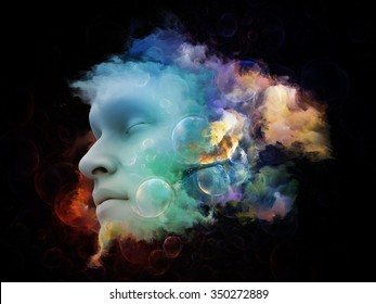 Shards of Dream series. Composition of human face and colorful graphic elements suitable as a backdrop for the projects on dreams, mind, spirituality, imagination and inner world