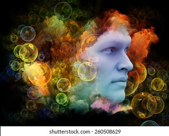 Shards of Dream series. Interplay of human face and colorful graphic elements on the subject of dreams, mind, spirituality, imagination and inner world
