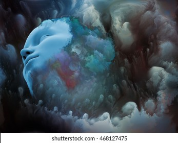 Shards of Vision series. Graphic composition of human face and graphic elements to serve as complimentary design for subject of dreams, mind, spirituality, imagination and inner world