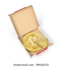 Sharing concept. Bitcoin as a pizza on the cardboard package. 3d illustration