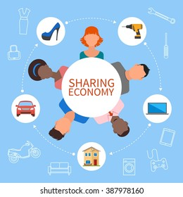 Sharing economy and smart consumption concept. Illustration in flat style. People save money and share resources.