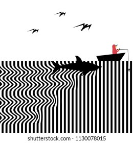 A shark approaches an unsuspecting fisherman in a rowboat in a humorous op art illustration.