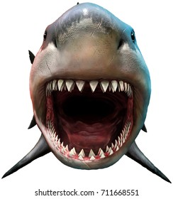 Shark biting 3D illustration