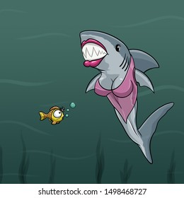Shark Blind Date at the Bottom of the Sea