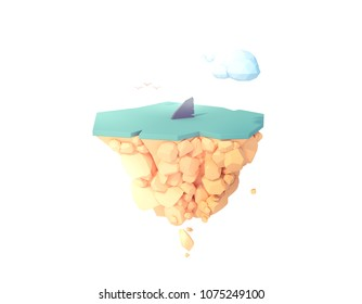 shark fin in the water warning zone low poly isolated island 3d illustration.