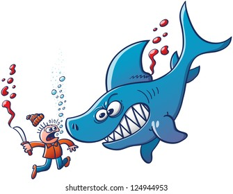 Shark hunter with a knife being sunk and threatened by an angry blue shark after having tried to cut his fin. Stop finning