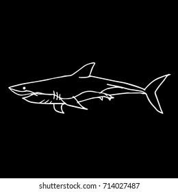 Shark illustration. Doodle style. Design icon, print, logo, poster, symbol, decor, textile, paper, card.
