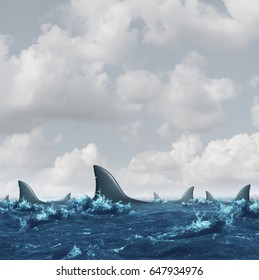 Shark infested waters background as a business concept representing the symbol of fear and risk or predatory preying as a group of dangerous sharks in the ocean or sea with 3D illustration elements.
