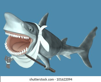 Shark - Ready to Eat.  Shark with its mouth open wide, wearing a neckerchief, holding a knife and fork, swimming in the ocean.