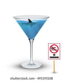 Shark swimming in cocktail glass/Shark in drink