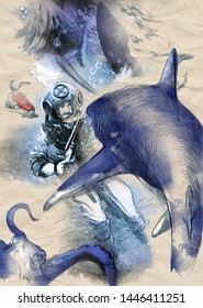 sharks - hand drawn vintage illustration, fighting diver with shotgun, underwater adventure - retro processing - deep blue creatures, slightly inspirated by novels of jules verne