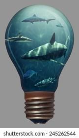 Sharks Swimming Around In A Lightbulb
