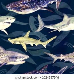 Haiart: Blau, Tiger, Wale und Hammerhead, handbemalte Aquarell-Illustration, nahtloses Muster auf dunkblauem, grüner Ozeanoberfläche mit Wellenhintergrund