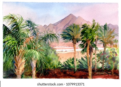 Sharm El Sheikh. Watercolor tropical landscape with palm trees and mountains. Oasis in the desert.
