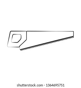 A sharp construction black and white icon of a hand saw, a hacksaw with teeth and a handle for cutting wood. Construction tool. illustration.