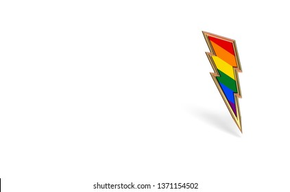 Sharp LGBT lightning bolt rainbow pride symbol isolated on white background with copy space on the left side. Homosexual minority fight for their rights symbol concept. 3D rendering