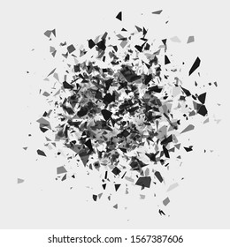 Shatter and destruction effect. Abstract cloud of pieces and fragments after flash.
