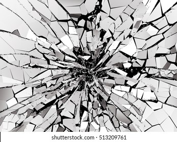 Shattered or demolished glass over black background. 3d rendering 3d illustration