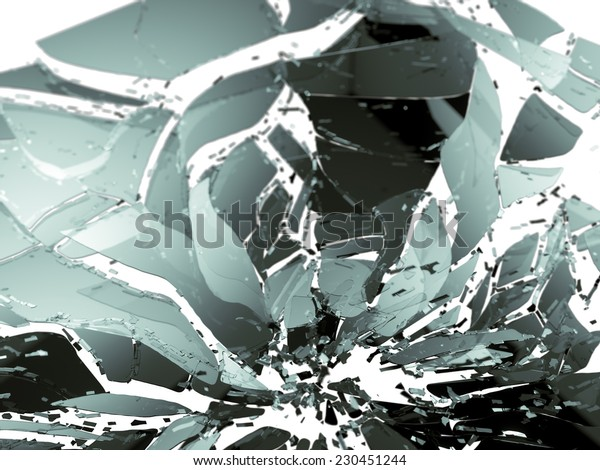Shattered glass isolated on white shallow DOF. Large resolution