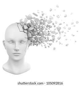 a shattered human head model from the front view.