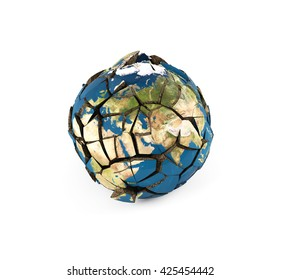 shattered planet on a white background. environmental concept. 3D illustration