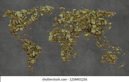Shattered planisphere, ecology, destruction of the world, 3d illustration