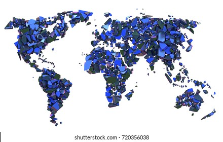 Shattered planisphere, ecology, destruction of the world, 3d illustration, continents on isolated white background
