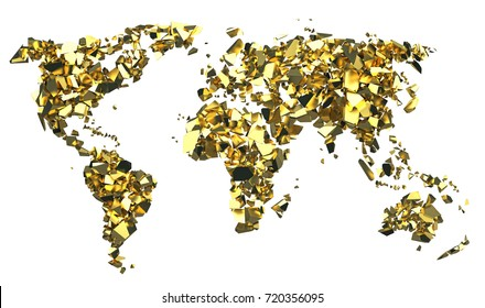 Shattered planisphere, ecology, destruction of the world, 3d illustration, gold continents on isolated white background