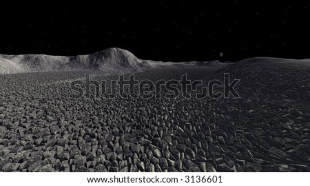 Shattered rock landscape on asteroid with distant planetoid