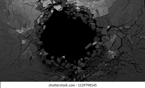 Shattered wall concept. Hole on a broken black wall blank space. 3d illustration
