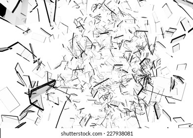 Shattering Glass explosion on white background