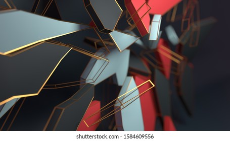 Shattering structure, exploding elements in blue, red and grey. 3D render or rendering.
