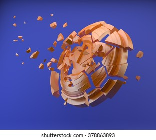 shatters clay target for shooting on a blue sky