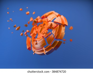 shatters clay target for shooting on a white sky