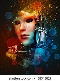 she is a cyborg hi tech art 3d illustratiom