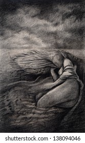 She dream. pencil drawing on paper.