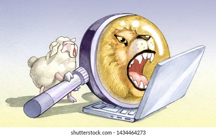 sheep in front of computer uses magnifying lens to pretend to be a lion