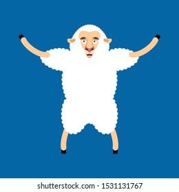 Sheep happy. Ewe merryl emoji. Farm animal.
