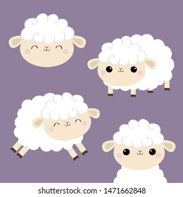 Sheep lamb face head icon set. Cloud shape. Jumping animal. Cute cartoon kawaii funny smiling baby character. Nursery decoration. Sweet dreams. Flat design. Violet background.