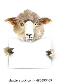 Sheep with poster-board,you add the message.Animal silhouette watercolor sketch. graphic for fabric,postcard,greeting card.Background for Muslim Community,Festival of Sacrifice,Eid-Al-Adha Mubarak