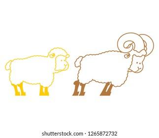 Sheep and ram. Farm animals linear symbol