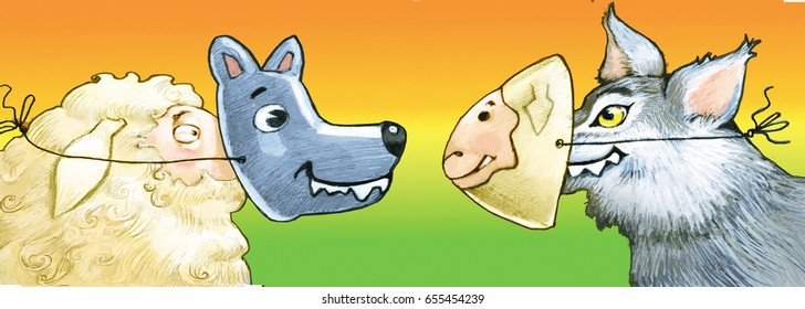 Sheep with wolf mask and wolf with sheep mask facing each other