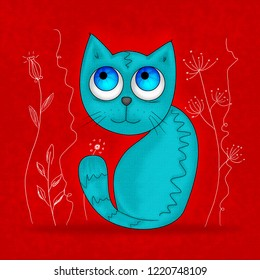 Sheepish little blue cat with big blue eyes, sitting and looking fearful but happy. Red background with hand drawn white floral motive, blooming flowers.